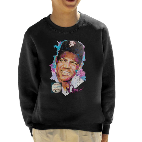 Sidney Maurer Original Portrait Of Willie Mays Kid's Sweatshirt