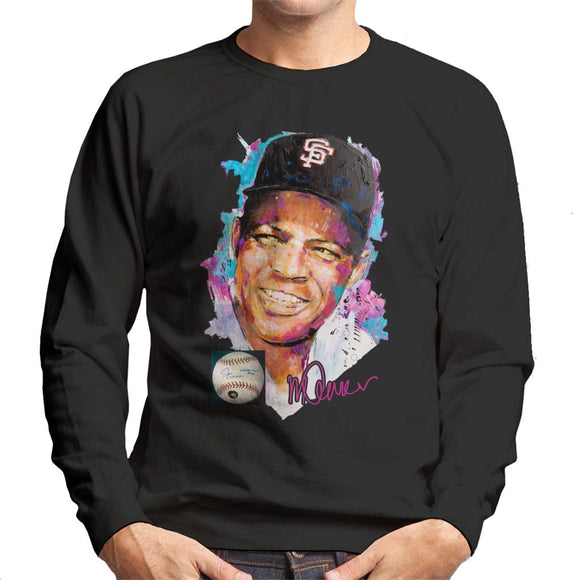 Sidney Maurer Original Portrait Of Willie Mays Men's Sweatshirt