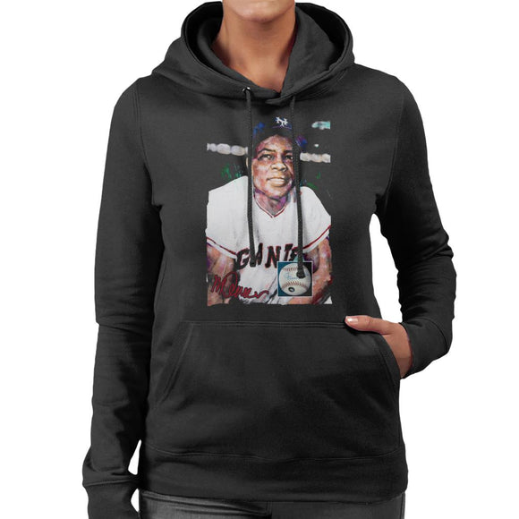 Sidney Maurer Original Portrait Of Giants Star Willie Mays Women's Hooded Sweatshirt