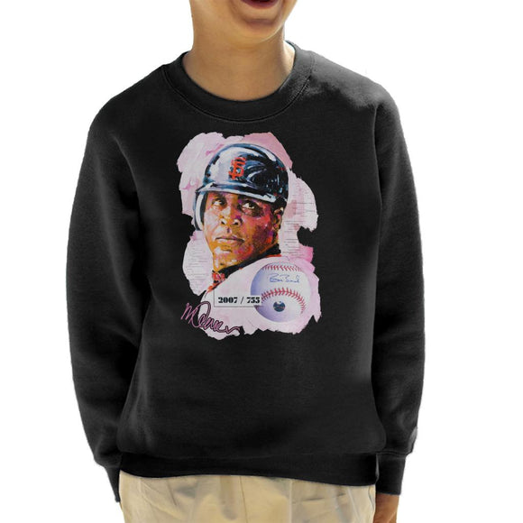 Sidney Maurer Original Portrait Of Giants Baseball Player Barry Bonds Kid's Sweatshirt