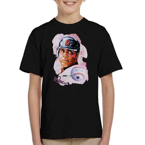 Sidney Maurer Original Portrait Of Giants Baseball Player Barry Bonds Kid's T-Shirt