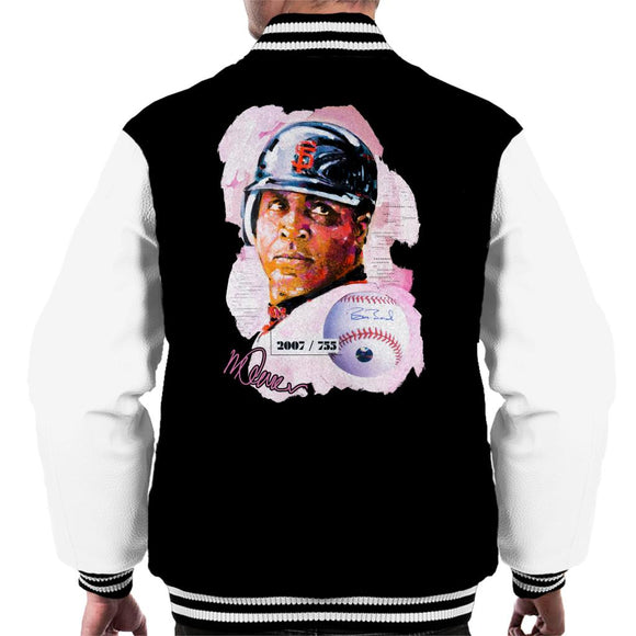 Sidney Maurer Original Portrait Of Giants Baseball Player Barry Bonds Men's Varsity Jacket