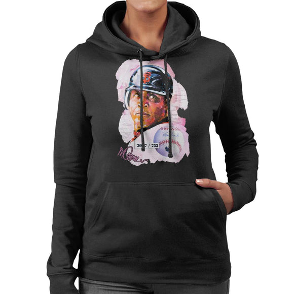 Sidney Maurer Original Portrait Of Giants Baseball Player Barry Bonds Women's Hooded Sweatshirt