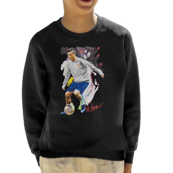 Sidney Maurer Original Portrait Of Cristiano Ronaldo Dribbling A Football Kid's Sweatshirt