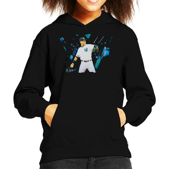 Sidney Maurer Original Portrait Of Yankees Baseball Player Derek Jeter Kid's Hooded Sweatshirt