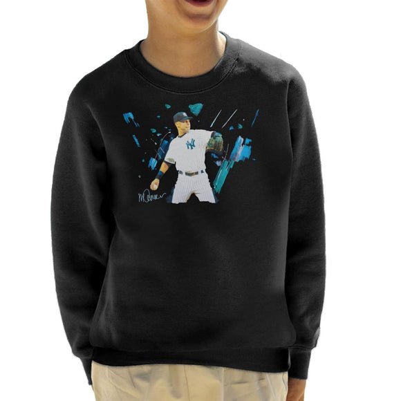 Sidney Maurer Original Portrait Of Yankees Baseball Player Derek Jeter Kid's Sweatshirt