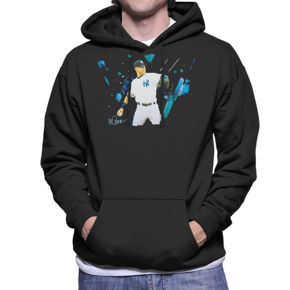 Sidney Maurer Original Portrait Of Yankees Baseball Player Derek Jeter Men's Hooded Sweatshirt