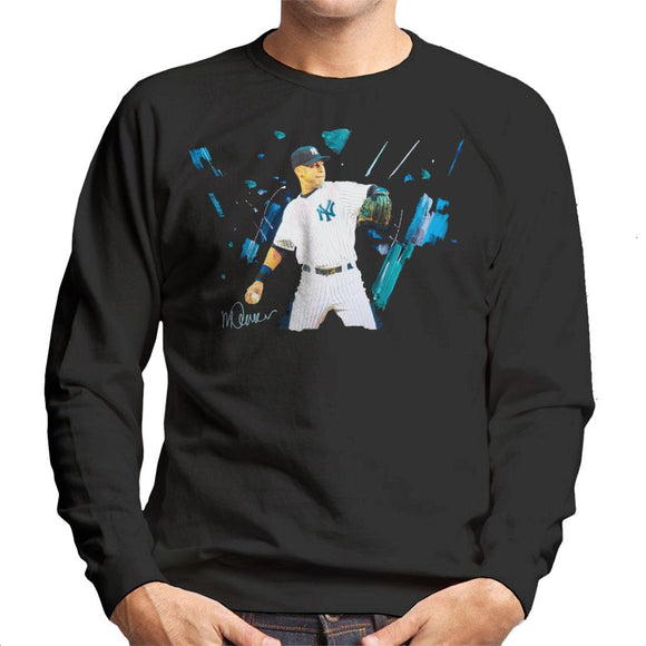 Sidney Maurer Original Portrait Of Yankees Baseball Player Derek Jeter Men's Sweatshirt