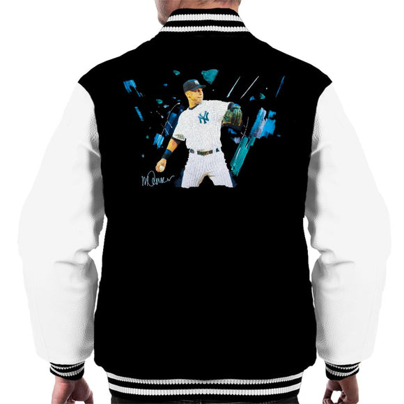 Sidney Maurer Original Portrait Of Yankees Baseball Player Derek Jeter Men's Varsity Jacket