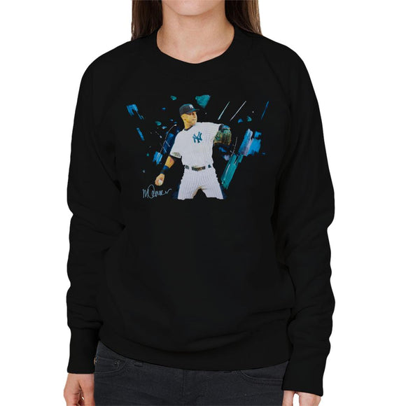 Sidney Maurer Original Portrait Of Yankees Baseball Player Derek Jeter Women's Sweatshirt