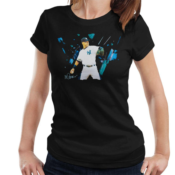 Sidney Maurer Original Portrait Of Yankees Baseball Player Derek Jeter Women's T-Shirt