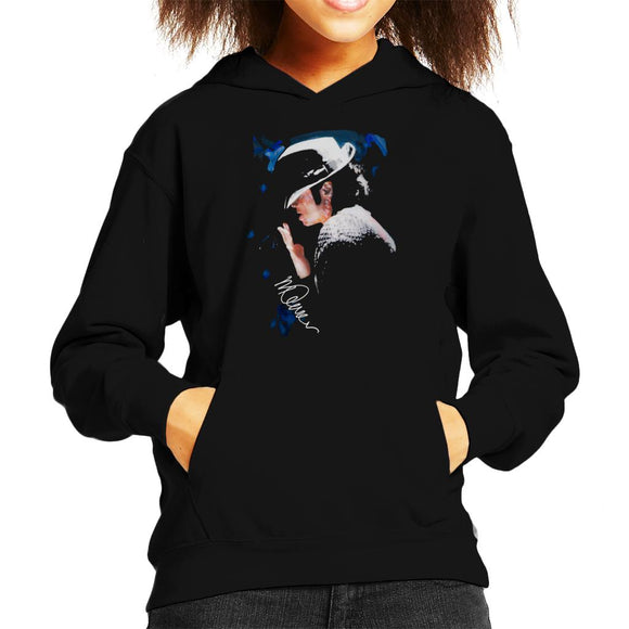 Sidney Maurer Original Portrait Of Michael Jackson Tipped Hat Kid's Hooded Sweatshirt