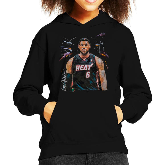 Sidney Maurer Original Portrait Of LeBron James Miami Heat Jersey Kid's Hooded Sweatshirt