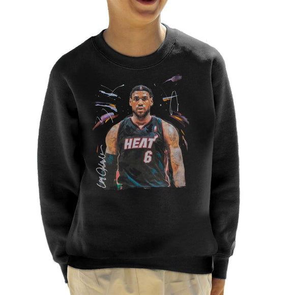 Sidney Maurer Original Portrait Of LeBron James Miami Heat Jersey Kid's Sweatshirt
