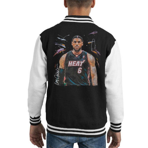 Sidney Maurer Original Portrait Of LeBron James Miami Heat Jersey Kid's Varsity Jacket