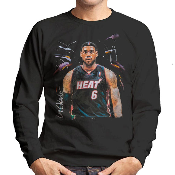Sidney Maurer Original Portrait Of LeBron James Miami Heat Jersey Men's Sweatshirt