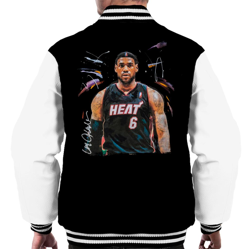 pretty nice e9c64 9455f Sidney Maurer Original Portrait Of LeBron James Miami Heat Jersey Men's  Varsity Jacket