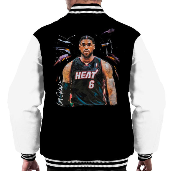 Sidney Maurer Original Portrait Of LeBron James Miami Heat Jersey Men's Varsity Jacket