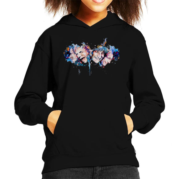 Sidney Maurer Original Portrait Of The Rolling Stones Headshots Kid's Hooded Sweatshirt