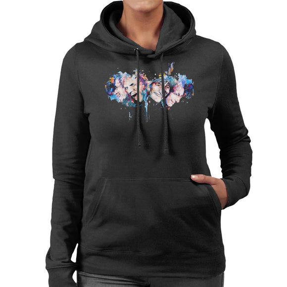 Sidney Maurer Original Portrait Of The Rolling Stones Headshots Women's Hooded Sweatshirt