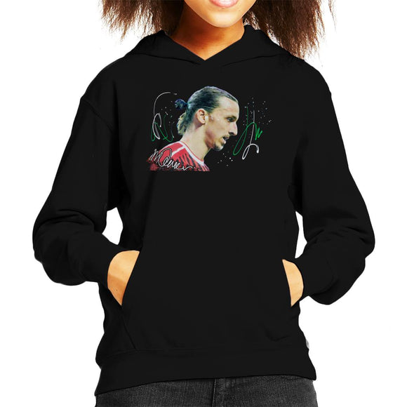 Sidney Maurer Original Portrait Of Zlatan Ibrahimovic Kid's Hooded Sweatshirt