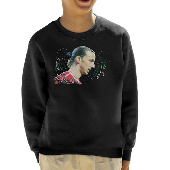 Sidney Maurer Original Portrait Of Zlatan Ibrahimovic Kid's Sweatshirt