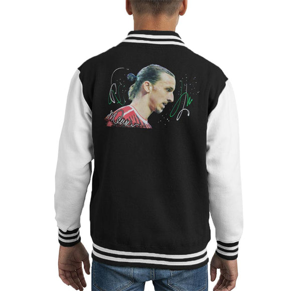 Sidney Maurer Original Portrait Of Zlatan Ibrahimovic Kid's Varsity Jacket