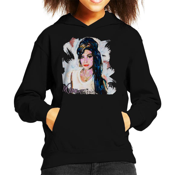 Sidney Maurer Original Portrait Of Amy Winehouse Anchor Necklace Kid's Hooded Sweatshirt