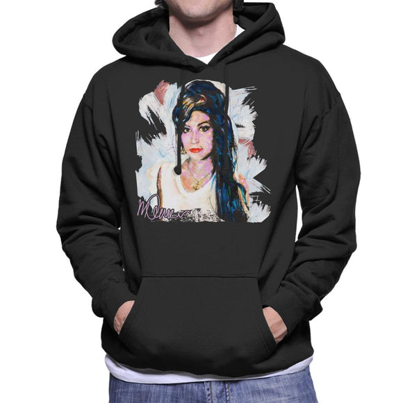 Sidney Maurer Original Portrait Of Amy Winehouse Anchor Necklace Men's Hooded Sweatshirt