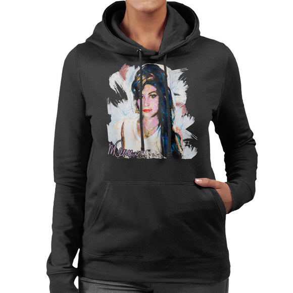 Sidney Maurer Original Portrait Of Amy Winehouse Anchor Necklace Women's Hooded Sweatshirt
