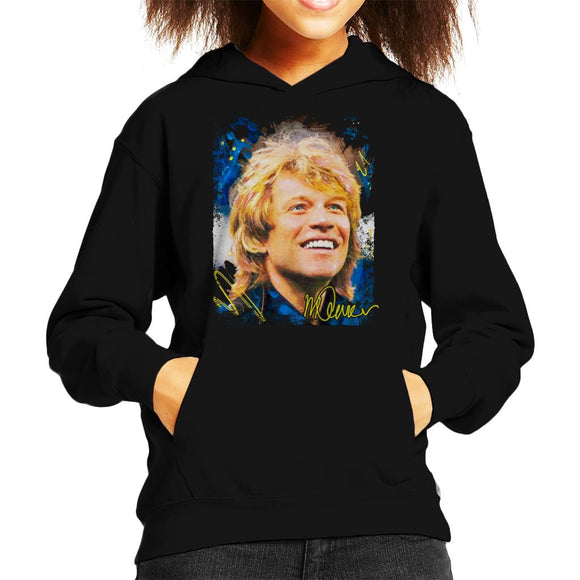 Sidney Maurer Original Portrait Of Jon Bon Jovi Smile Kid's Hooded Sweatshirt