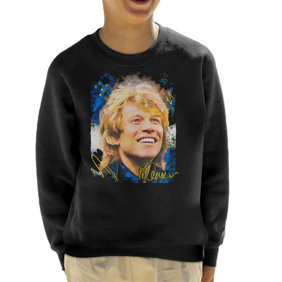 Sidney Maurer Original Portrait Of Jon Bon Jovi Smile Kid's Sweatshirt