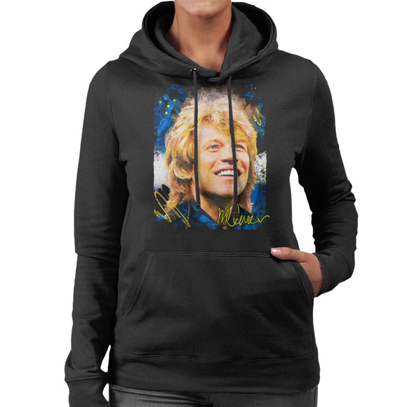 Sidney Maurer Original Portrait Of Jon Bon Jovi Smile Women's Hooded Sweatshirt