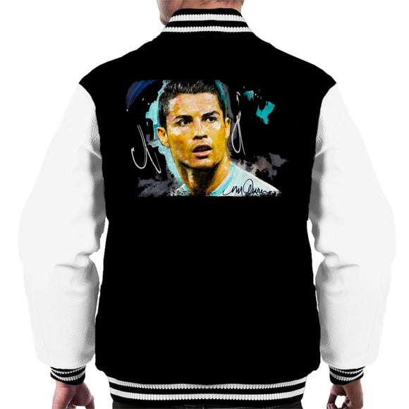 Sidney Maurer Original Portrait Of Footballer Cristiano Ronaldo Men's Varsity Jacket