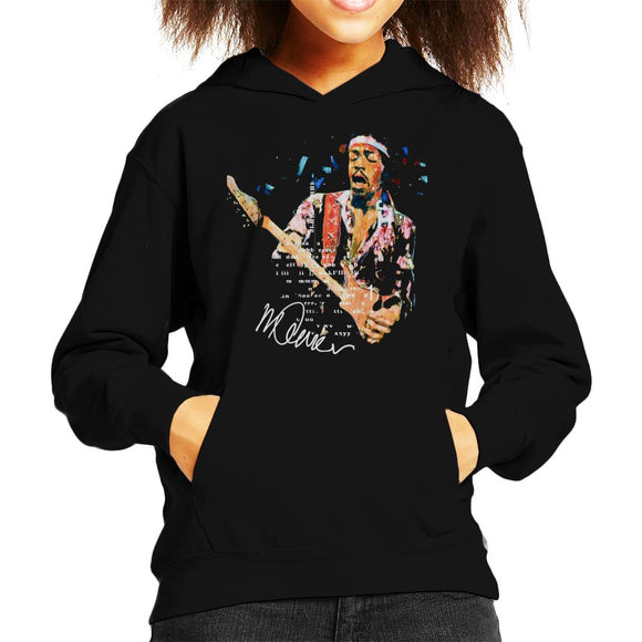 Sidney Maurer Original Portrait Of Guitarist Jimi Hendrix Kid's Hooded Sweatshirt