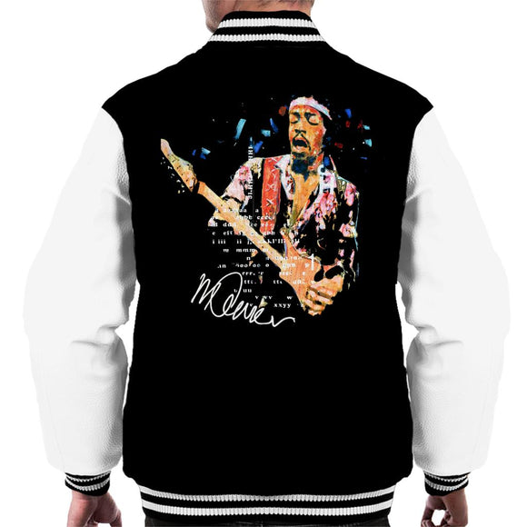 Sidney Maurer Original Portrait Of Guitarist Jimi Hendrix Men's Varsity Jacket