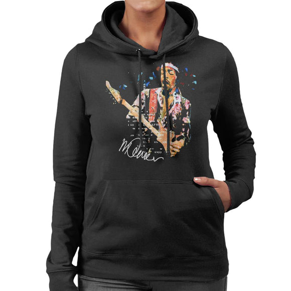 Sidney Maurer Original Portrait Of Guitarist Jimi Hendrix Women's Hooded Sweatshirt