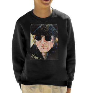 Sidney Maurer Original Portrait Of John Lennon Hat And Sunglasses Kid's Sweatshirt