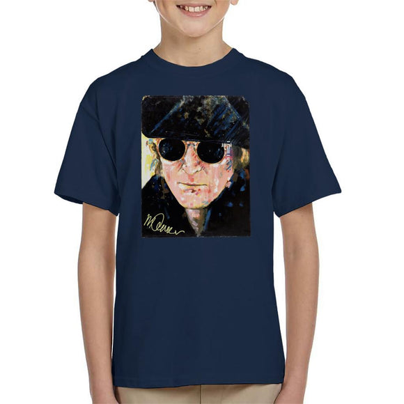 Sidney Maurer Original Portrait Of John Lennon Hat And Sunglasses Kid's T-Shirt