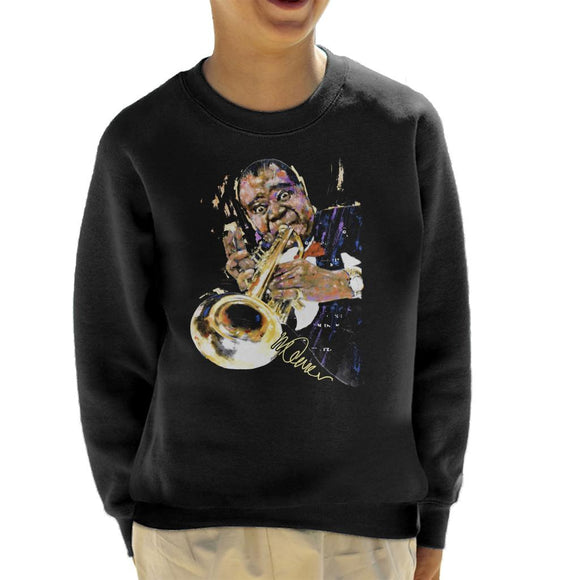 Sidney Maurer Original Portrait Of Louis Armstrong With Trumpet Kid's Sweatshirt