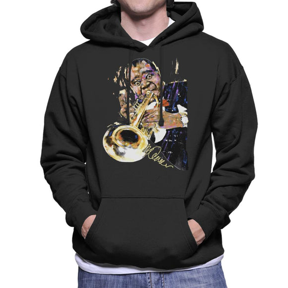 Sidney Maurer Original Portrait Of Louis Armstrong With Trumpet Men's Hooded Sweatshirt