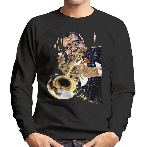 Sidney Maurer Original Portrait Of Louis Armstrong With Trumpet Men's Sweatshirt
