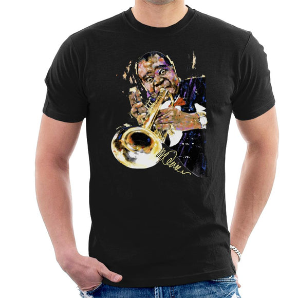 Sidney Maurer Original Portrait Of Louis Armstrong With Trumpet Men's T-Shirt