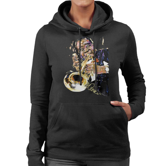 Sidney Maurer Original Portrait Of Louis Armstrong With Trumpet Women's Hooded Sweatshirt