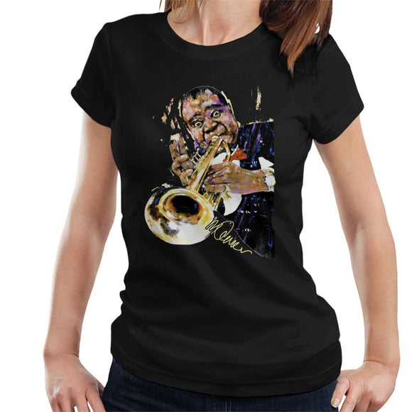 Sidney Maurer Original Portrait Of Louis Armstrong With Trumpet Women's T-Shirt
