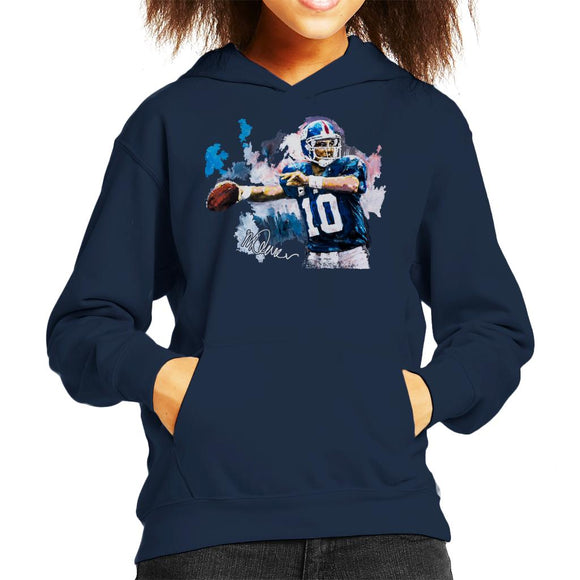 Sidney Maurer Original Portrait Of Eli Manning Giants Kid's Hooded Sweatshirt