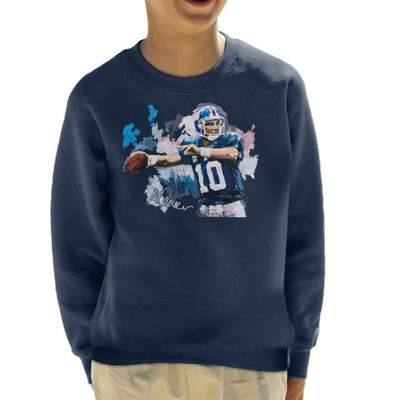 Sidney Maurer Original Portrait Of Eli Manning Giants Kid's Sweatshirt
