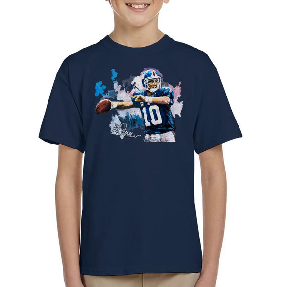 Sidney Maurer Original Portrait Of Eli Manning Giants Kid's T-Shirt