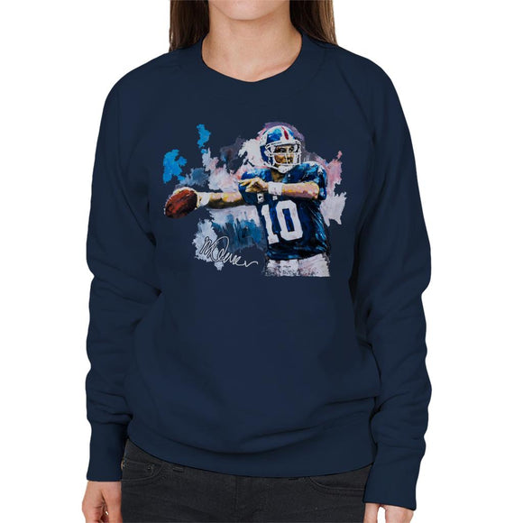 Sidney Maurer Original Portrait Of Eli Manning Giants Women's Sweatshirt