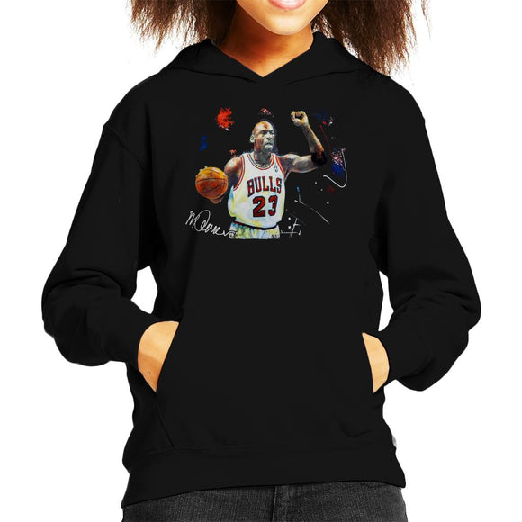 Sidney Maurer Original Portrait Of Michael Jordan Chicago Bulls Basketball Kid's Hooded Sweatshirt